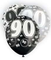 Black Glitz Age 90 Latex Balloons (6)